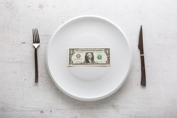 Dollar bill on plate
