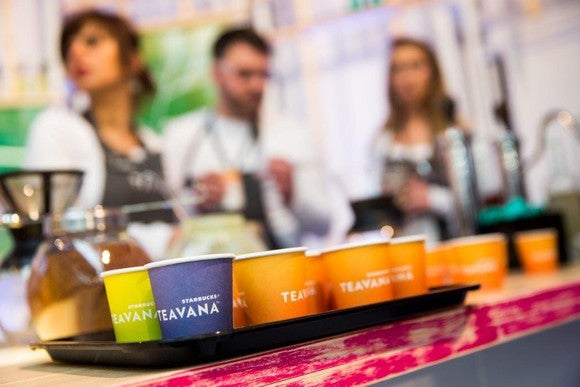 Teavana cups are shown on a tray