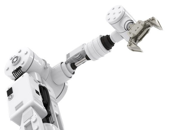 Single, white robotic arm.