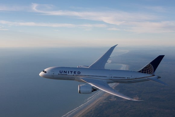 A United Airlines Boeing 787, with a shoreline in the background