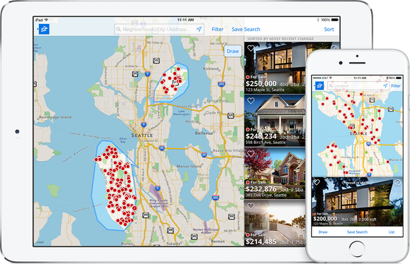 Zillow app displaying maps and homes on a tablet and smartphone
