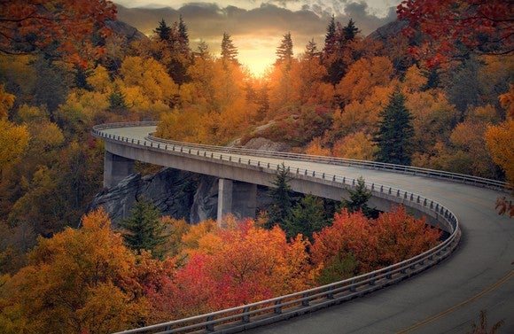 An empty highway curves through trees with autumn leaves