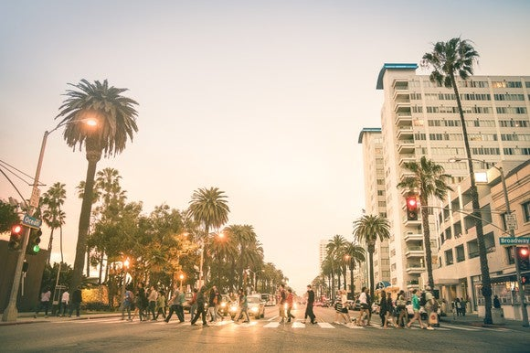 A busy crosswalk in Santa Monica, California.