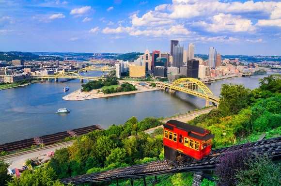 An ariel view of the Pittsburgh, Pennsylvania downtown area.