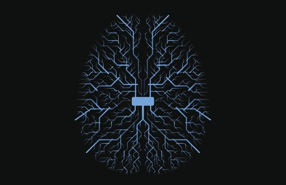 Graphic of brain with circuits on black background.