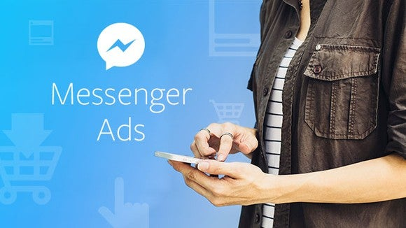 Smartphone user looking at a Messenger ad