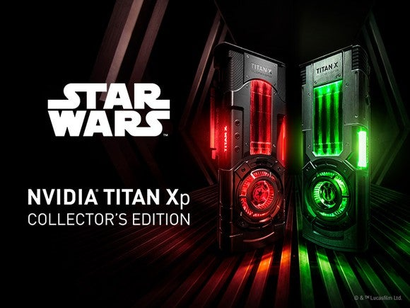 NVIDIA Titan Xp collector's edition red-lit and green-lit graphics cards with the words Star Wars next to them.