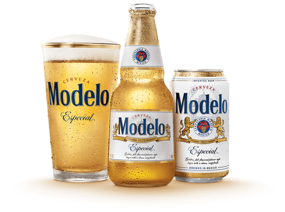 Modelo beer glass, bottle, and can