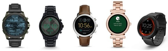 A lineup of Fossil's smartwatches