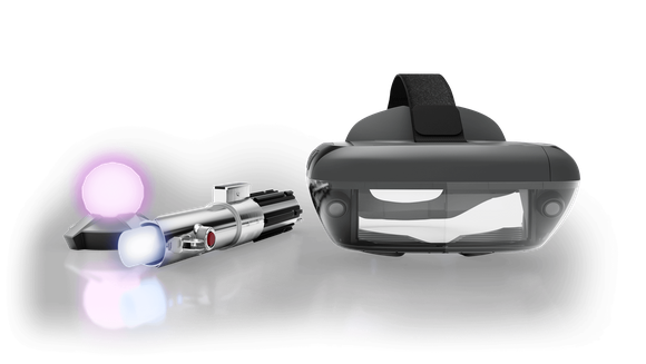 The Jedi Challenge headset, lightsaber, and floor beacon.