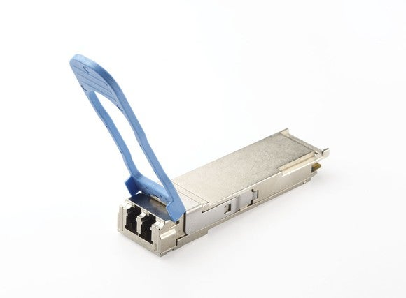 Long-reach transceiver equipment from Applied Optoelectronics, metallic with blue swing-case.