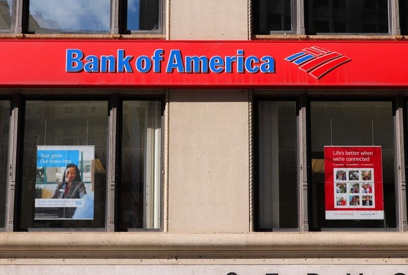 The exterior of a Bank of America branch.