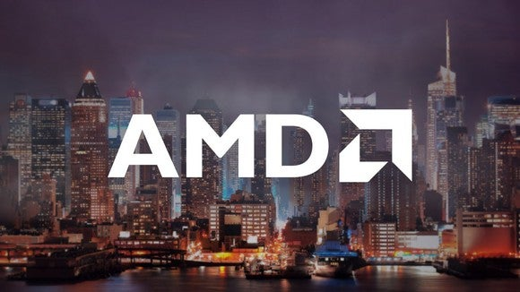 A white AMD logo displayed on top of a foggy cityscape.