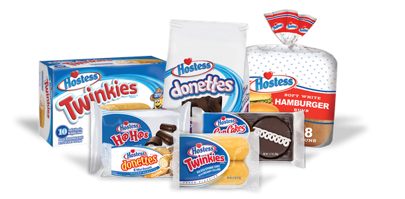 Various Hostess products including Twinkies, Donettes, hamburger buns, and HoHos