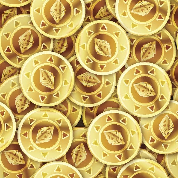 Many bright gold coins with Ethereum symbol on them.
