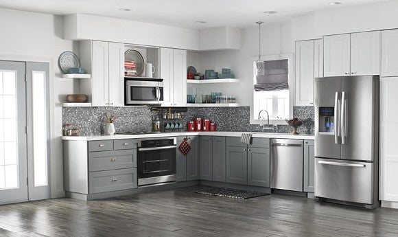 A kitchen with Whirlpool appliances