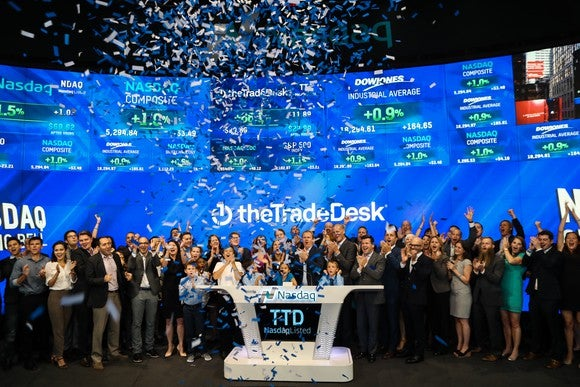 The Trade Desk celebrating its NASDAQ listing