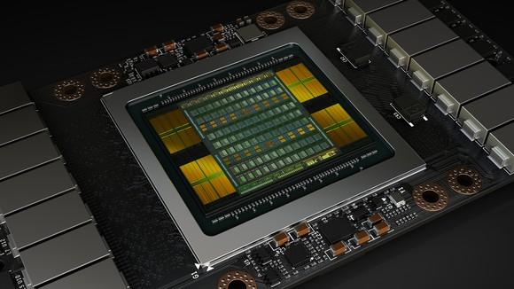 Close up rendering of Tesla V100 chip