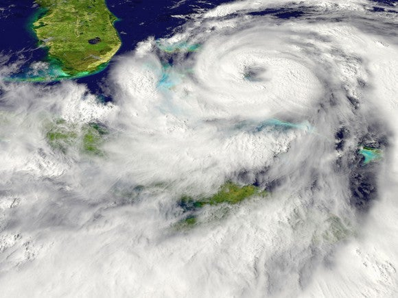 A hurricane swirling near the southern tip of Florida