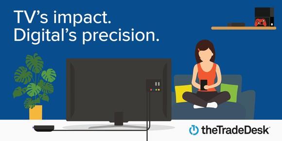The Trade Desk ad reading: TV's impact. Digital precision.