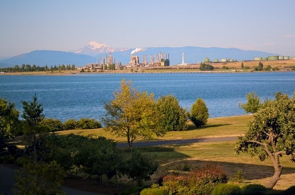Oil refinery on the Puget Sound with Mount Baker in the background.