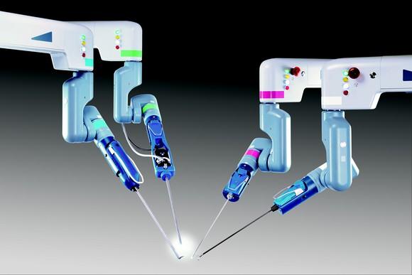 Four Senhance Surgical robot hands