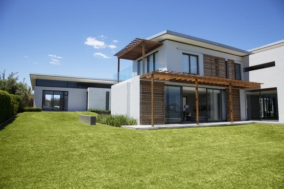 White two-story modern home with white walls and wood accents, and a green grass lawn.