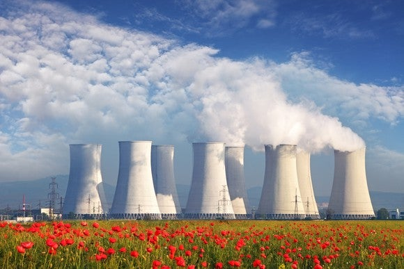 A nuclear power plant in the distance with red flowers in front of it
