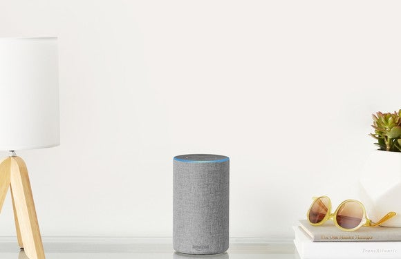 Amazon's new Echo device sitting on a table.