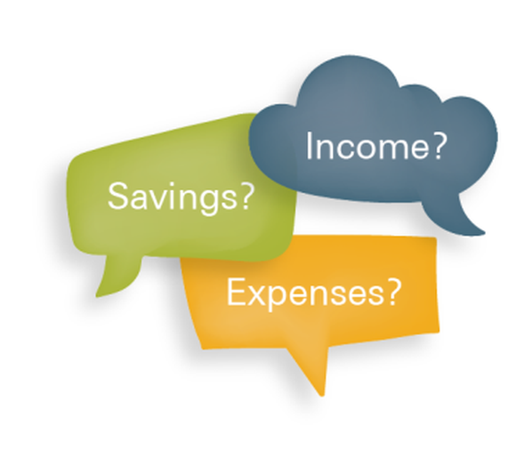 """Three thought bubbles saying: """"Savings?"""" """"Income?"""" """"Expenses?"""""""