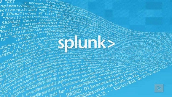 Splunk text logo in white with text machine data in the blue background
