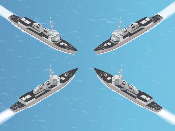 Four frigates converging