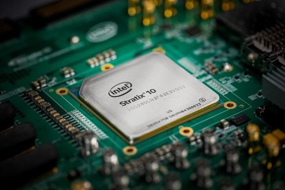 An Intel Stratix FPGA chip.