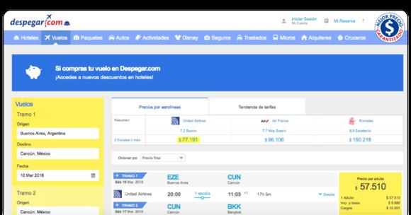 Despegar's booking screen with a sample fare.