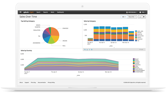 Splunk's operational intelligence platform running on an open notebook computer