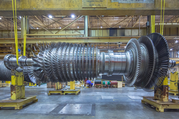a GE gas turbine in production