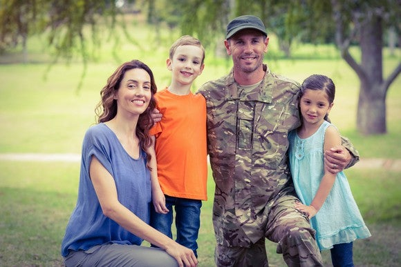 Man dressed in military uniform with woman and two children