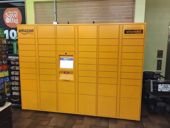 An Amazon pick-up locker at the Whole Foods store in Arlington, VA.