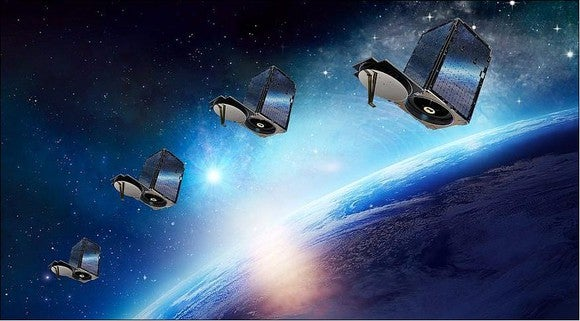 Four satellites over Earth