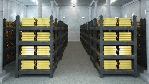 Gold stored in a vault.