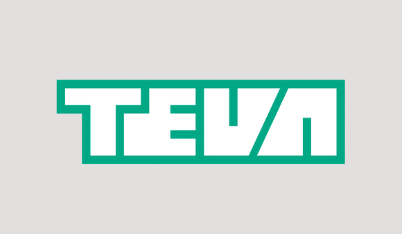 Green-outlined white letters of Teva's logo.