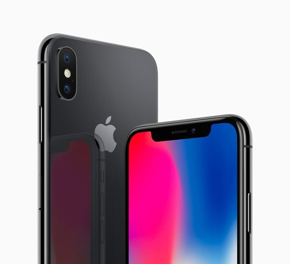 Apple's iPhone X in space gray (backside on the left, front side on the right).