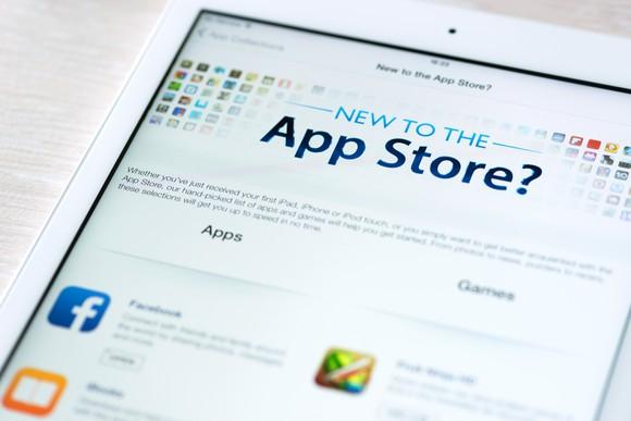 Apple's app store on an iPad.