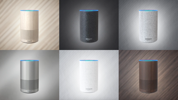 Six different Amazon Echo speakers, each with a different exterior material.