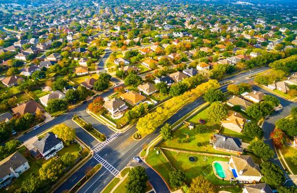 Housing development community in suburbs.