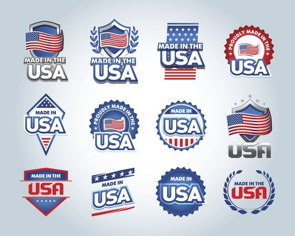 """a collection of """"made in USA"""" emblems"""