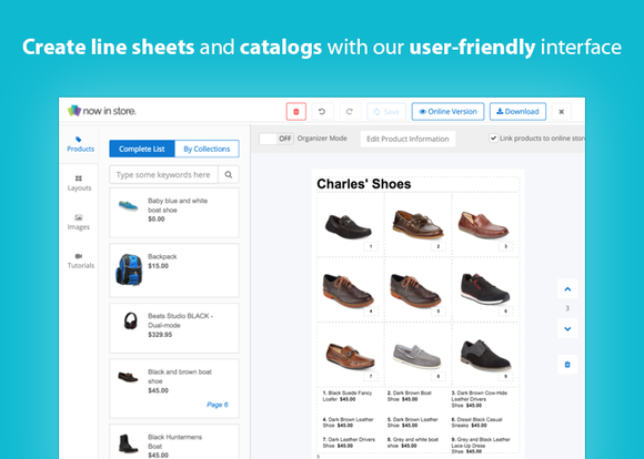 Shopify's catalog builder tool in action.