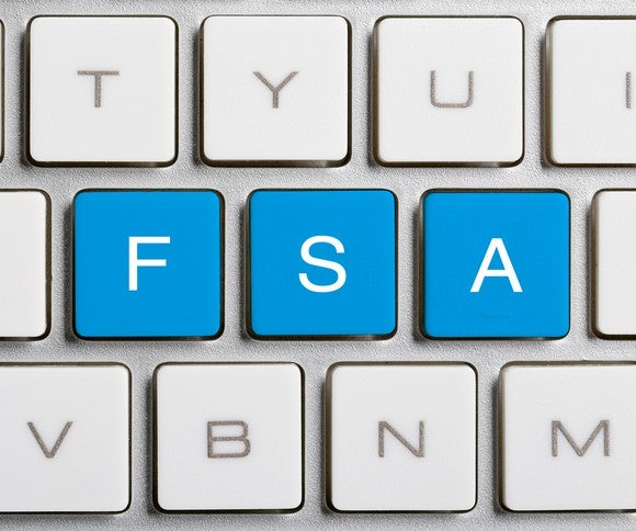 FSA in blue keys on a computer keyboard