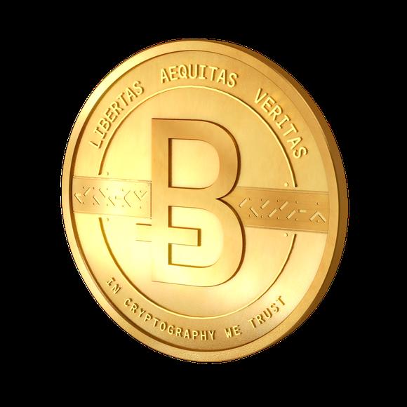 A gold coin featuring the Bitcoin logo.