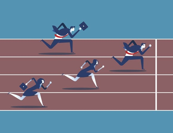 Graphic image of two businessmen and two businesswomen running on a race track, with one businessman about to cross finish line.
